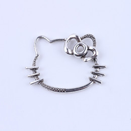 New fashion Retro Hello kitty charm silver copper DIY jewelry pendant fit Necklace or Bracelets 50 pcs lot #5135
