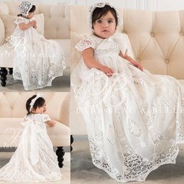 Wholesale Cute First Communion dresses For Baby Short Sleeves Ribbon Big Bow Flower Girls Dress Spring Summer Hot Selling Communion Dresses