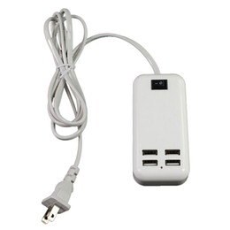 2016 New 15w 4 Port USB Wall AC Charger Desktop Chargers Power Adapter 4 USB Ports US EU Plug with Switch 1.5m Cable for iphone ipad Samsung