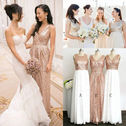 2015 Shining Sequins Bridesmaids Dresses For Wedding Sexy V neck Pleats Ruches A Line Evening Dresses Prom Party Gowns