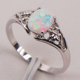 Wholesale White Fire Opal Australia Sterling Silver Woman Jewelry Ring Size F579