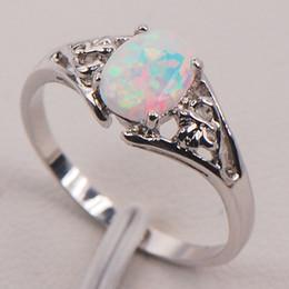 Wholesale White Fire Opal Australia Sterling Silver Woman Jewelry Ring Size F579