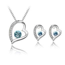 High Quality Elegant 925 Silver Plated Crystal love Sweet Heart Pendants Necklaces Stud Earrings Bridal Wedding Jewelry Sets For Women girls
