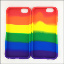 Wholesale Shipping 20PCS Lot Rainbow Colour Gay Pride Silicone Phone Case For Iphone 6, Free Shipping.