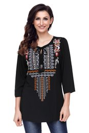 Women's Bohemian Relaxed Fit Long sleeves V-Neck Embroidery Floral Tunic Shift Blouse Flowy