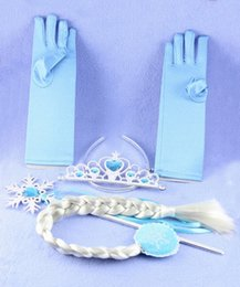 Free shipping Frozen Elsa Princess Magic Wand Sticks Crown Glove Full Finger Gloves Hairpiece Wig 4 Pieces Set Girl Gift