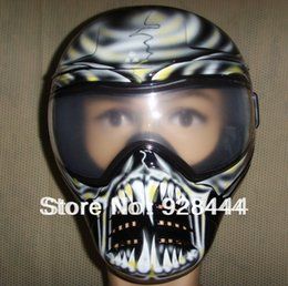 Wholesale Phat Series Warlord Tactical Mask with White Skull and Fangs for Paintball and airsoft with anti fog double lens