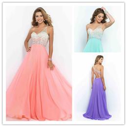 Wholesale Style Aquamarine Coral Pink Sea Glass Violet Prom Dress New One Shoulder Party Gown Long Chiffon Backless vestido de festa