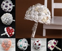 Wholesale Chinese Color Bags - Artificial Pearls Wedding Bouquet Flowers Crystal Beads Silk Rose Handmade Bridal Bridesmaid Bouquets Supplies Multi Color 2015 High Quality