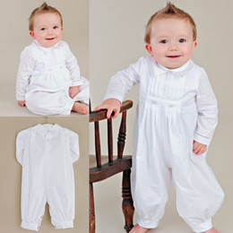 Wholesale Cool Baby First Communion Siamese Trousers Turn Down Collar Long Sleeves White Gowns For Kids Tea Length Baptism With Hat