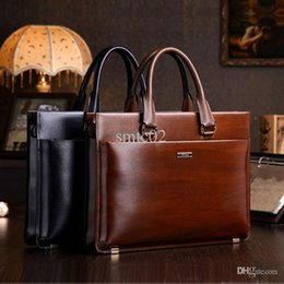 Wholesale teemzone Men s Genuine Leather High End Business Briefcase Messenger Laptop Case Attache Bag Brown