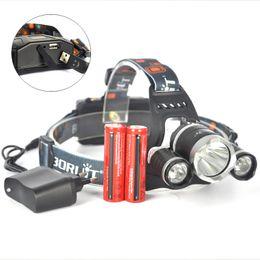 Wholesale Boruit XML L2 LED Headlamp Flashlight Lumens USB Rechargealbe Head Lamp linterna frontal Charger Batteries