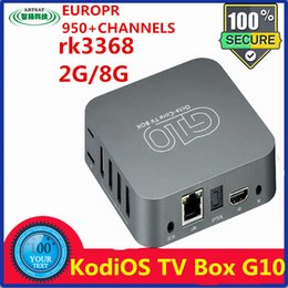Wholesale 950 europe apk with newest Android RK3368 bit core cortex A53 frequency G PowerVRSGX6110GPU GBEMMC GBDDR3 ANDROID TV BOX G10