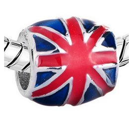 UK Flag Charms Wholesale Metal Beads Fits for European Women Fashion Style Souvenir Bracelets