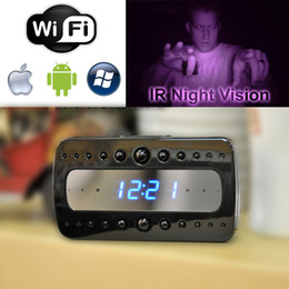1080P Wireless spy hidden cameras 1920x1080p Black Stealth Spy Clock Enhanced Infrared IR Night Vision Camera DVR
