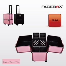 Wholesale Facebox Brand Trolley Makeup Box Beauty Case with wheels Professional Removable makeup box Black and pink color