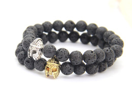 Wholesale New Design mm Black Lava Energy Stone with Roman Warrior Helmet Bracelet Fashion Spartan Jewelry for Mens Gift