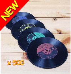 Wholesale New Novelty Gift Drinks Retro CD Vinyl Record Coffe Tea Drinking Coasters Anti Heat Cup Mat Hot Promotion