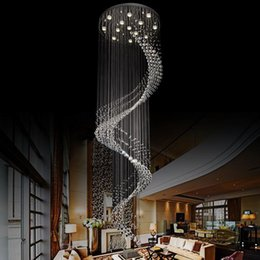 K9 Crystal Spiral Ceiling Light Modern Luxury Chandelier Lighting Fixture Hanging Cord Pendant Lamps Clear Crystal