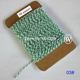 Wholesale Cotton Green Twine - Free Shipping! 50meters (03# white green) Cotton Twine Cord 8-Ply Thread Macrame Rope String Gift Packing