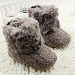 Wholesale First Walker Baby Kid Knitted Fur Snow Boots Color Toddlers Soft Sole Short Boots Shoes0 Months