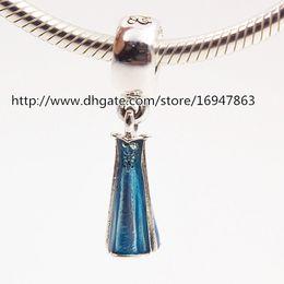 100% S925 Sterling Silver Elsa Dress Dangle Charm Bead with Blue Enamel Fits European Pandora Jewelry Bracelets