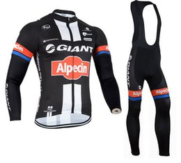 WINTER FLEECE THERMAL CYCLING LONG JERSEY ROPA CICLISMO+BIB PANTS 2015 GIANT ALPECIN PRO TEAM BLACK 3D GEL PAD-PICK SIZE:XS-4XL S038