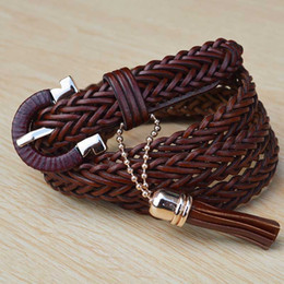 Genuine Leather Belts For Women Weave Waistband Needle Buckle Belts Cowhide Pin Buckle Belts 4 Colors Braided Decoration Belts