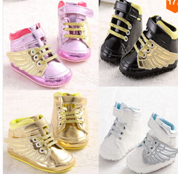 2016 New Boy Girl Sports Shoes First Walkers Kids Children Shoes Gold Wing Sneakers Sapatos Infantil Bebe Soft Sole Prewalker 6pair