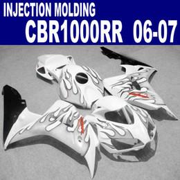 Free shipping fairing kit for HONDA Injection molding CBR1000RR 06 07 CBR1000 RR 2006 2007 black flames in white plastic fairings set VV76
