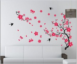 New Products For 2017 Removable Wall Stickers Living Room Sofa TV Background Wallpaper Plant Swallon Wall Art Decor