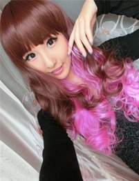 Wholesale Light brown pink Ombre wigs long curly neat bangs Anime Cosplay hair synthetic lace front wig cheap wigs buy wig send hairnet