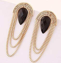 Wholesale 525 Anti allergic Trendy Fashion Concise Metal Tassel Temperament Rhinestone Stud Earring For Women E3618