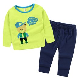 Wholesale Pajamas For Boys And Girls All Cotton Long Sleeve Kids Homewear Suit Cartoon Printed Big Children Underclothes Set K573
