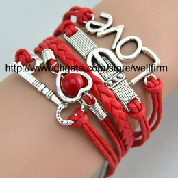 Wholesale Infinity Bracelets Antique Charm Love Key Infinity Braided Mix Colors Leather Bracelets Fashion Wrist bands Jewellery