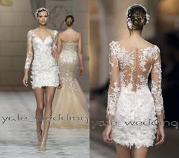 2016 Sexy Short Lace Wedding Dresses V Neck Illusion Long Sleeves Sheath Custom Made Summer Beach Petite Short Mini Wedding Gowns