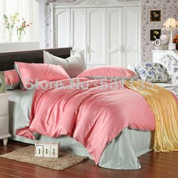 Wholesale Pink with green beans sheets silk bedding sets plain double color duvet bed quilt covers comforter for king queen size