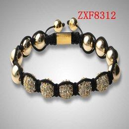 jewelry factory!Nialaya Individuality Best bracelets shamballa gold alloy cool dill Weave adjust High-grad Copper Beads bracelets ZXF8312