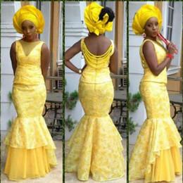 Wholesale Satin Fabric Mermaid Prom Dress - Custom Made 2016 Mermaid Style Evening Dresses Women Bellanaija Asoebi Fabrics Prom Dress Lace Styles Dresses Evening Party Clothings