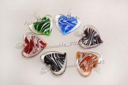 Heart Multi-Color Lampwork Murano Glass Pendants Necklaces Wholesale Retail FREE #pdt167