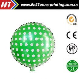 Wholesale 50pcs alumnum balloons Festival party supplies Explosion models inch green circle dots decorated aluminum balloons birthday party foil h