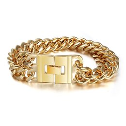 XMAS Style New Design High Quality 316L Stainless Steel Gold Plated Two Row Curb Chain Jewelry Clasp Bracelet Bangle Fashion Mens Gifts