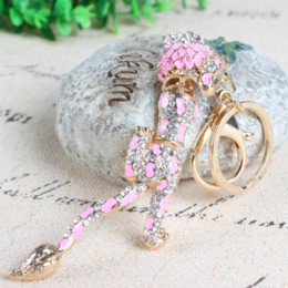 Lion Long Tail Body Moveable Pink Crystal Rhinestone Charm Pendant Purse Bag Car Key Ring Chain Creative Wedding Party Gift