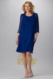 Modest Custom made URSULA 2015 Knee-Length Blue Long sleeve Mother dress A-Line Evening Dress Beaded Mother of the bride Dresses with Jacket