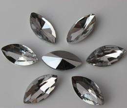 50PCS 9*18mm clear glass Crystal lot face Flat Back Rhinestone beads ZZ149