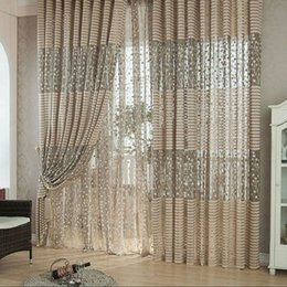 Wholesale LS4G New and fashion room Leaf Tulle Door Window Curtains for Living Room Window Curtain