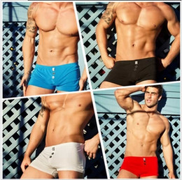 Wholesale-New Hot aussie underwears fashion AB men's cotton brass buttons boxers trunks male sexy boxers shorts underpants panties