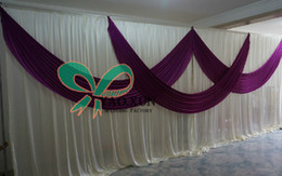 Wholesale 3M M Ivory Wedding Backdrop Curtain With Purple Color Swag And The Pipe Stent