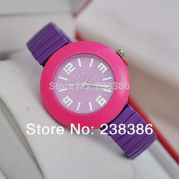 Wholesale TGJW544 Alloy Injection Oil With Strap Elastic Watch SL Movement Fashion Casual Lady Watches Candy Colors