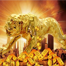 Wholesale High Quality Plating Golden Jaguar Home Office and Car Interior Craft Ornament Best Gifts